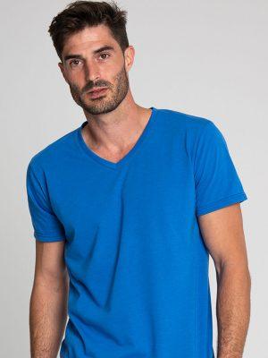 Camiseta antimosquitos hombre cuello pico azul 1