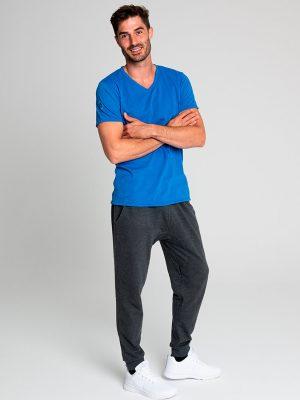 Camiseta antimosquitos hombre cuello pico azul 2