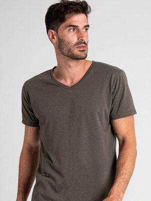 Camiseta antimosquitos hombre cuello pico caqui 1