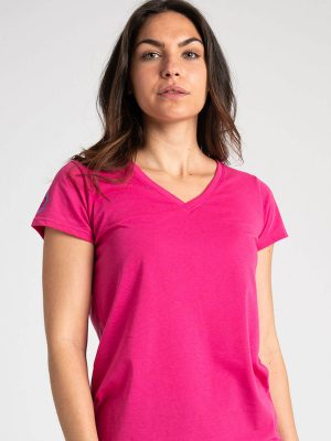 Camiseta antimosquitos mujer cuello pico rosa 1