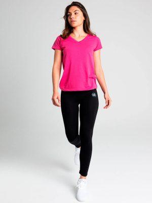Camiseta antimosquitos mujer cuello pico rosa 2