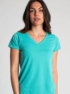 Camiseta antimosquitos mujer cuello pico turquesa 1